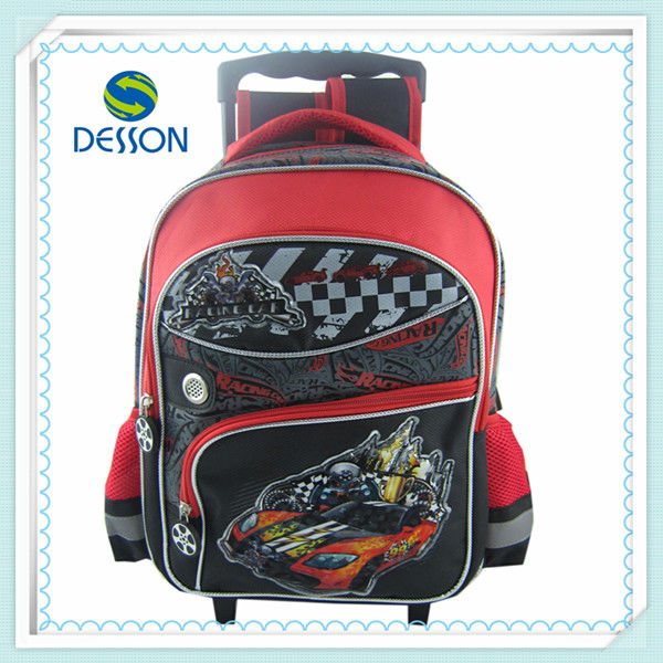 "cool and fashion car 14"" school backpack with trolley"