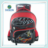 "cool and fshion car 14"" school backpack with trolley"
