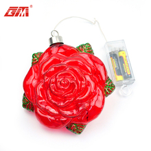 new product LED hanging glass rose decoration for sale artificial flowers