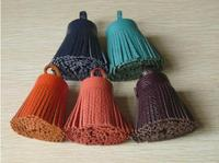short assorted colors fashionable genuin leather tassel for bag pendant/cellphone pendant/ key pendant