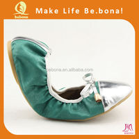 2015 hot selling fashion design beautiful foldable flat ballerina shoes roll up ballet shoes for women