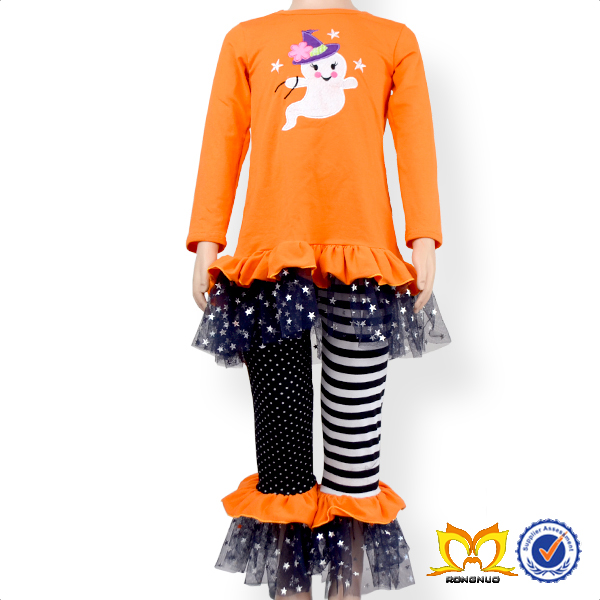 Girl Ghost Applique 2pc Clothing Set Halloween Embroidery Ruffle Outfit Boutique Girl Clothing