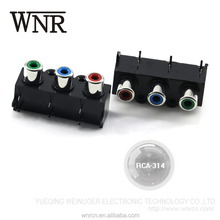 Environmental TV video & audio RCA connector,3 terminal lotus waterproof RCA jack RCA-344 seal