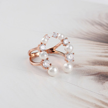 2017 New Fashion Open Cock Ring Design 925 Sterling Silver Pearl Ring