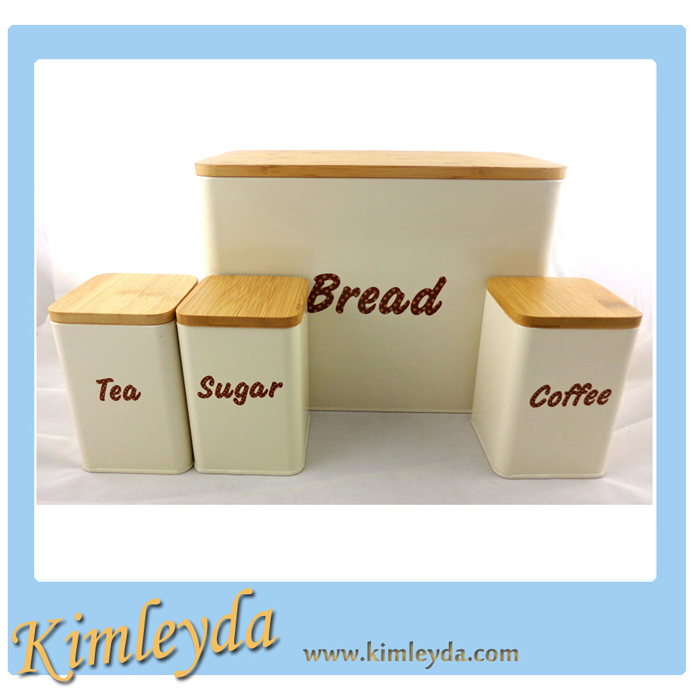 Wooden cover Kitchen Canister Set 4pcs Bamboo Canister Set