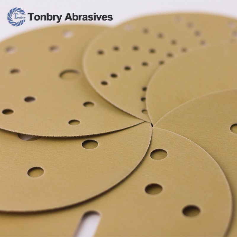 Gold sandpaper disc velcro backing similar as mirka abrasives polishing disc