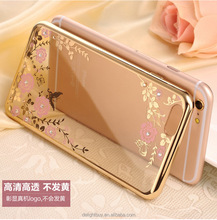 Ultrathin Soft TPU Jacket Back Case Cover For iphone 6 6s plus electroplate bumper frame. with flower diamond