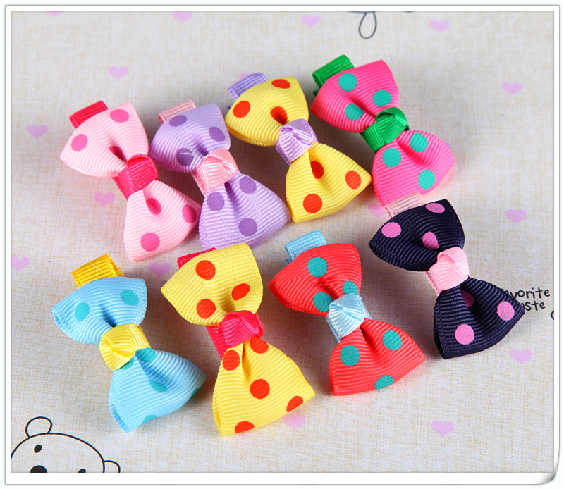 Baby <strong>Hair</strong> <strong>Accessories</strong> Wholesale Polka Dot Bow Hairclips For Kids Colourful Hairclips Hairpins
