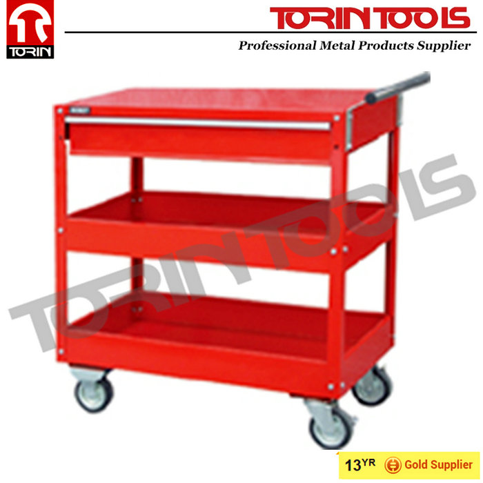Supplier Heavy Duty Work Red Steel Safety Tool Cart For Workshop