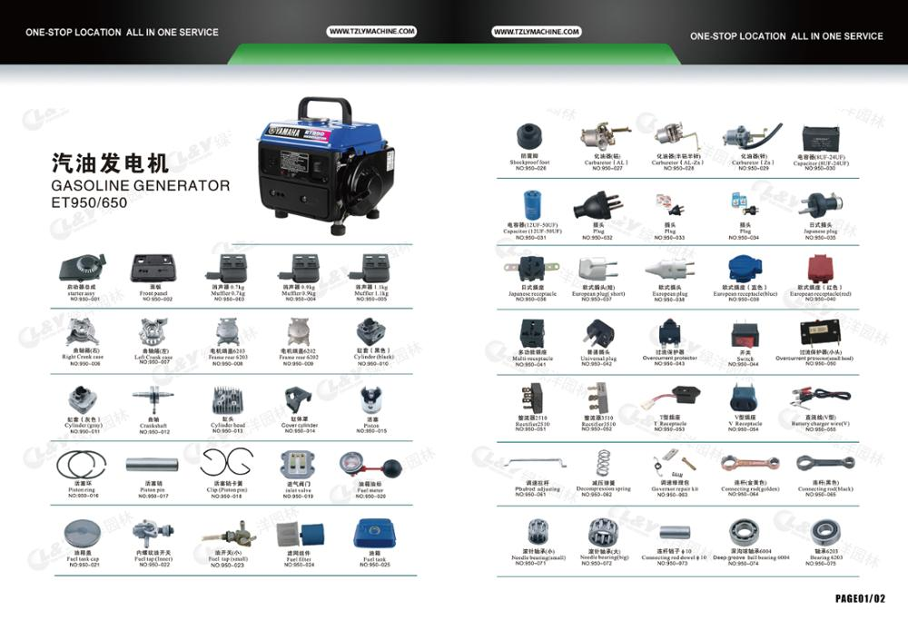 Good price spare parts/accessories/Fittings for Yamaha gasoline gennerator made in taizhou china