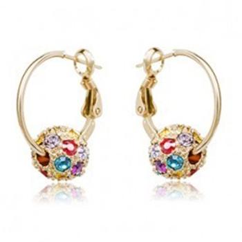 E008 Rhinestone Ball Earrings For Women Fashion Jewellery Wholesale Female Drop Earrings 2017 Birthday Gift