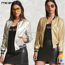 OEM service Chinese factory custom women metallic faux leather jacket