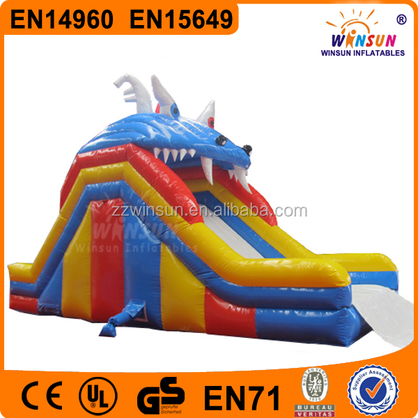 China WINSUN CE EN15649 PVC 9m long 6m high dragon mouth large inflatable water slide pool