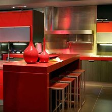 Red solid surface countertops Repairable surface countertops Kitchen countertops