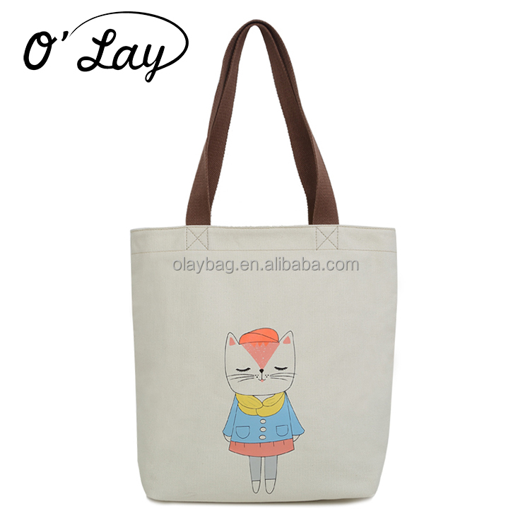 Fashion Foldable Canvas Tote Bag Leather Handle Tote Bag For Promotion