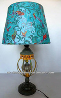 BIRD TURQUOISE POLYESTER/METAL TABLE LAMP
