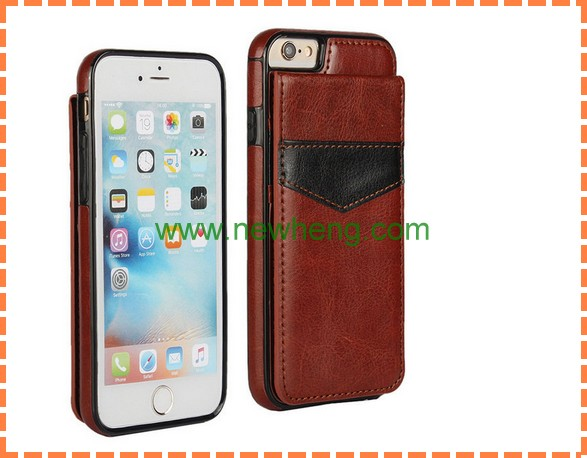 High quality Ultra thin crazy horse magnetic leather case for iphone 6, flip leather back cover case for iphone 6
