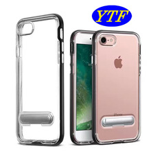 New Coming 3 in 1 Stand Cover Clear TPU + Metal bumper case for Iphone 7 4.7' four colors