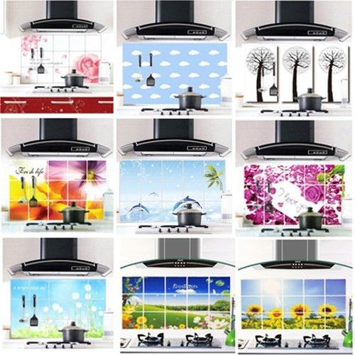 Aluminum Foil Decals Oil proof Stickers Keep Decor Kitchen Wall Paper