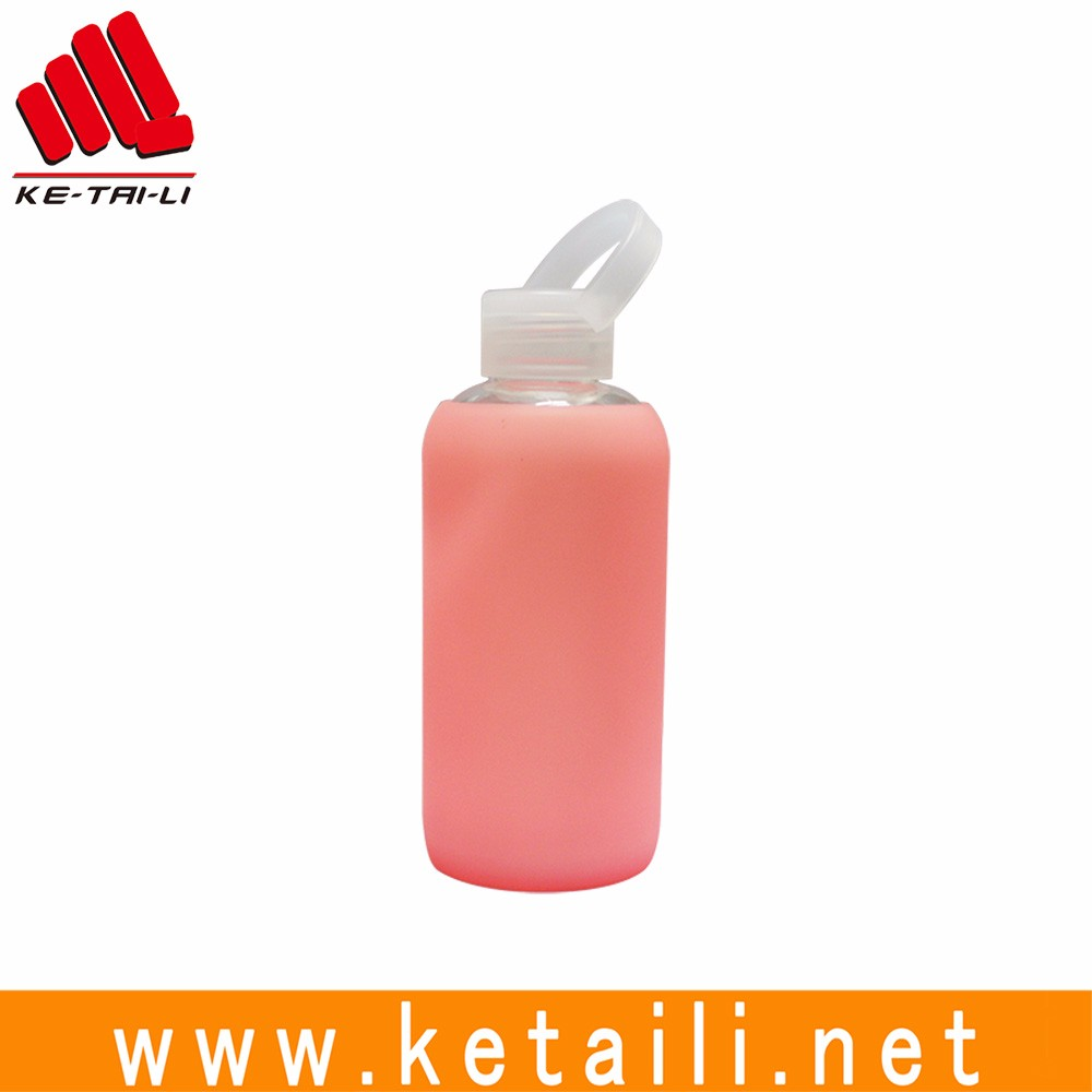 Popular Soda Lime Glass Water Drinking Bottle With Silicone Sleeve - 420ml