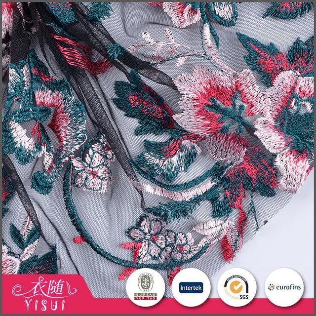 Online shopping OEM accept elegant embroidery fabric flowers for dresses