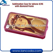 sublimation diamond frame case for iphone4/4s