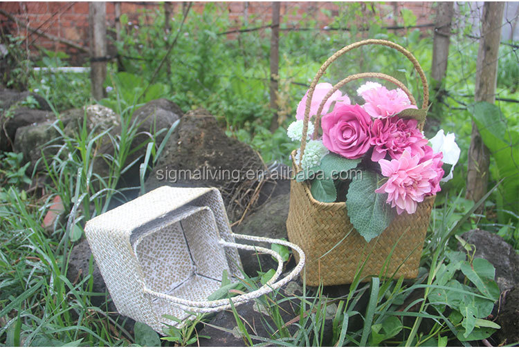 Hot sale creative packaging seaweed flower pot rural style hand-woven cabas
