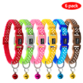 6pcs together polka dots small nylon puppy pet cat collar with bell
