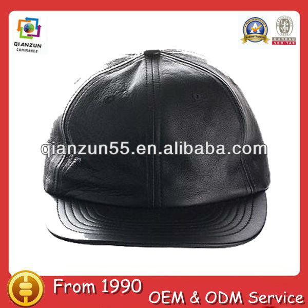Costomized military black leather plain snapback cap