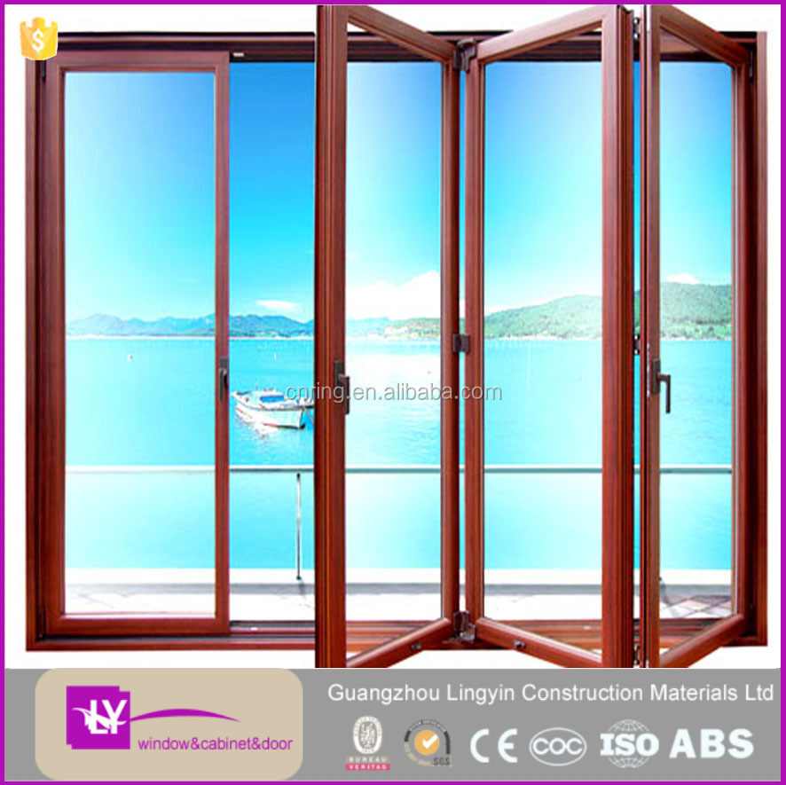 Aluminum Frame tempered glass bifold door and window for balcony sight seeing