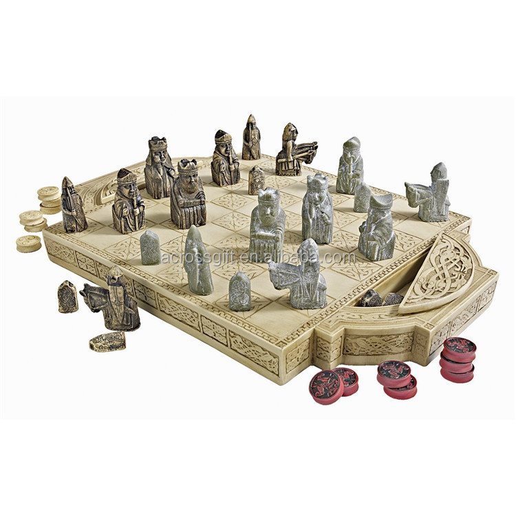 Hot Sale Personalized Handmade Painted Decorative Poly Resin Lewis Chess Set