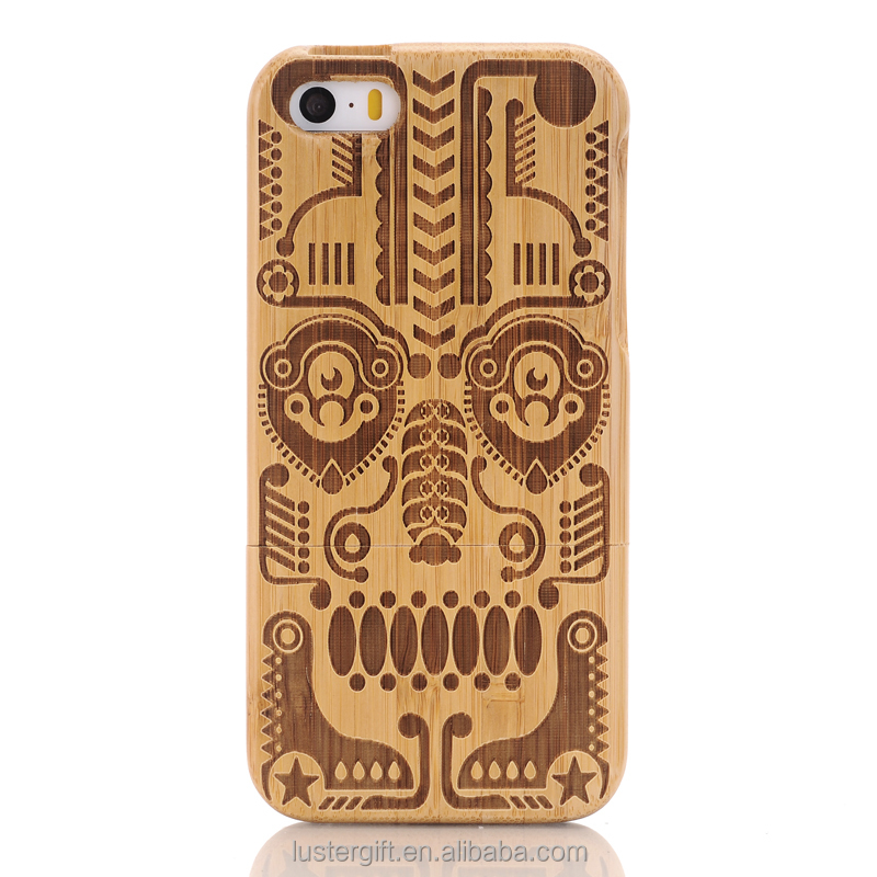 China wholesale customized graving wood phone case for iPhone SE 5S wooden case factory