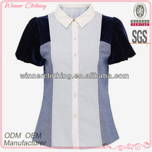 high fashion best price fabric joint together sequence blouse designs with short puff sleeves and stand collar