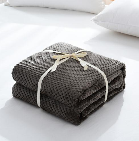 Super soft solid color plaid plush flannel coral fleece throw waffle blanket