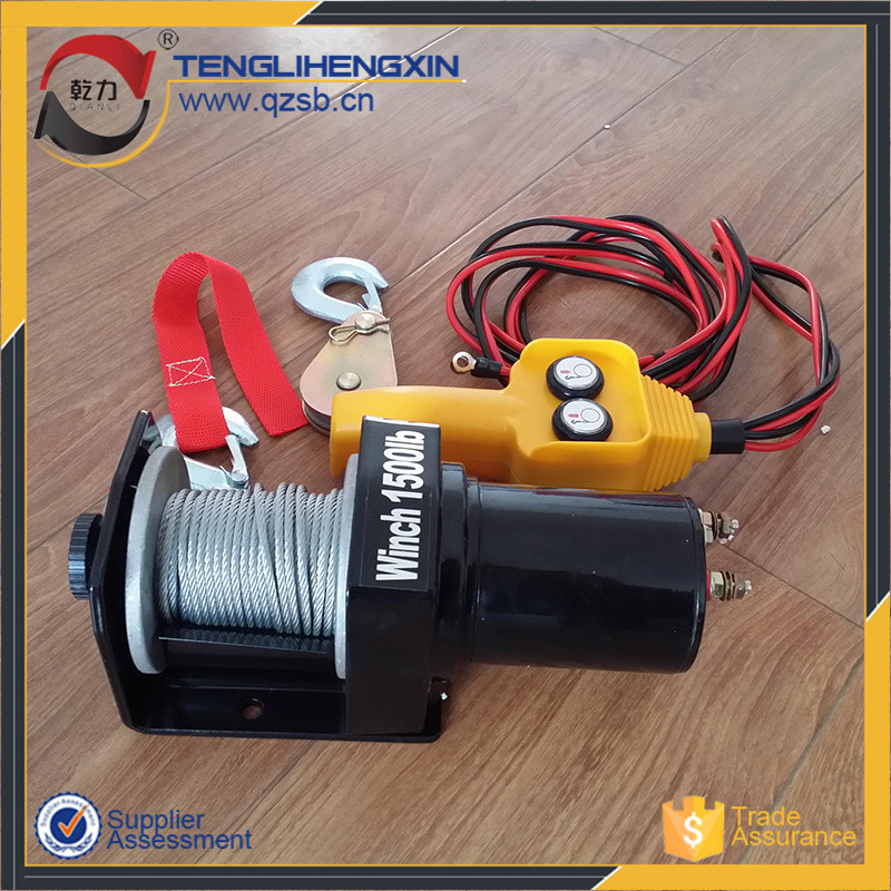 small portable 1500lbs electric dc capstan 12v winch motor