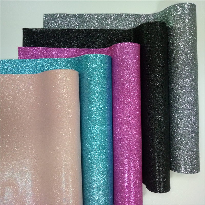 Hot selling good quality 0.6mm printed glitter pu leather for shoes material