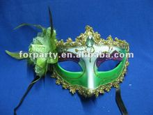CG-PM054 Fancy feather flower mask green mask
