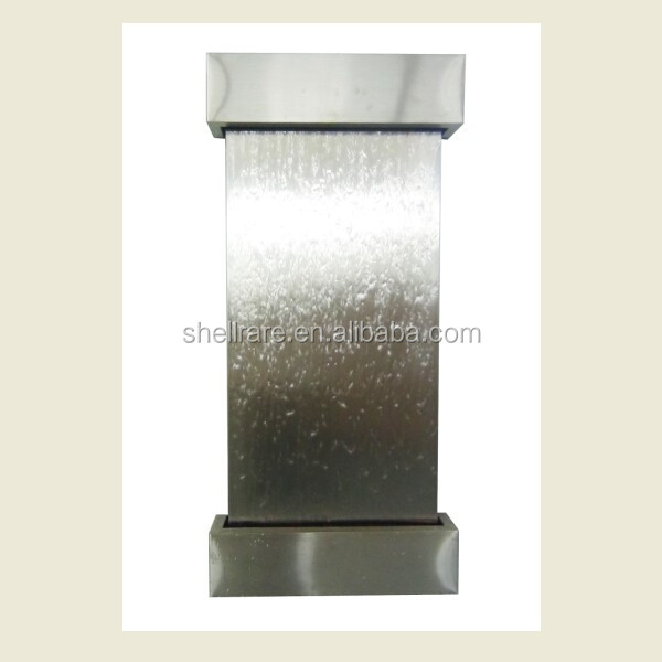 stainless steel wall hanging waterfall fountain, real water flow on the panel