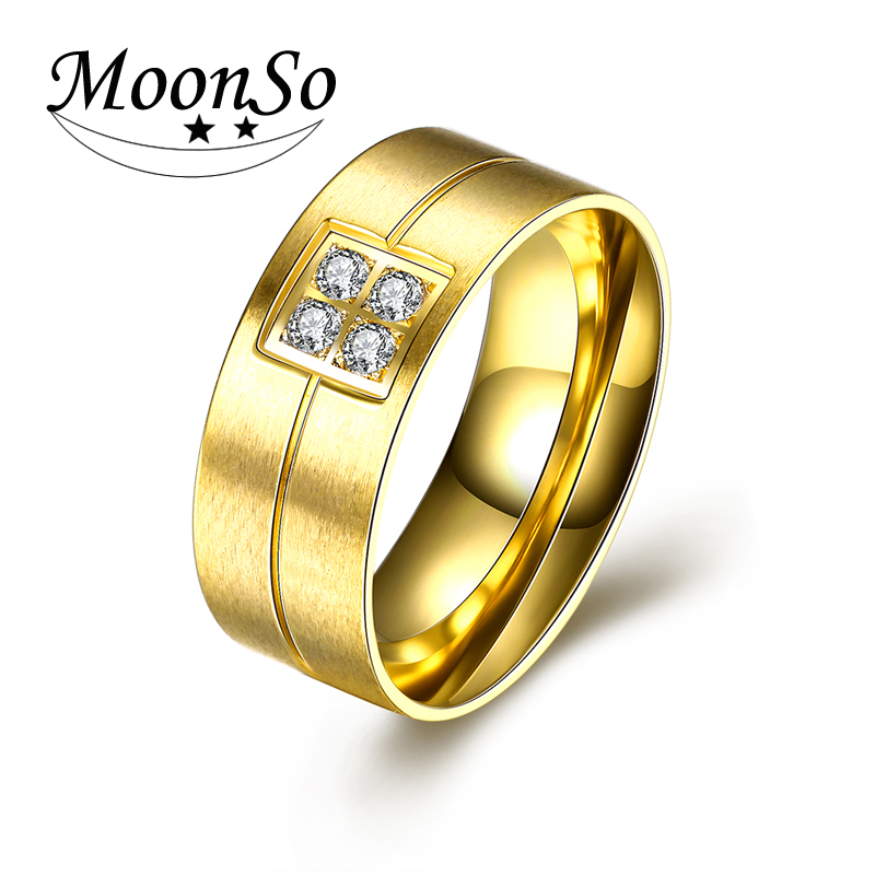 New design European style stainless steel rings jewelry, 18k gold zircon ring for men/ 2016 latest design AR-032 Moonso