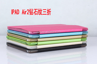 Wholesale Price For iPad Air 2 Diamond Pattern Flip 3 Fold Stand Leather Case Cover