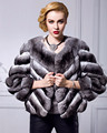 High Quality Womens Full Fur Neck Chinchilla Coat