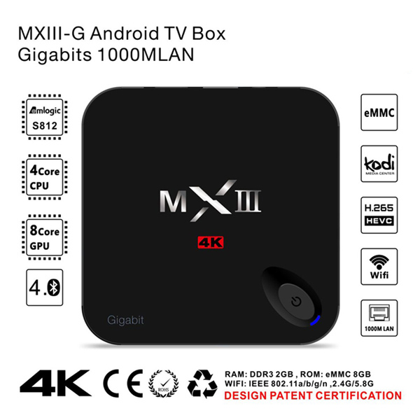 HOT MXIII-G Android TV Box S812 Android 5.1 MX III-G Amlogic S812 Quad Core up to 2.0GHz 2G 16G TV Box Gigabit network