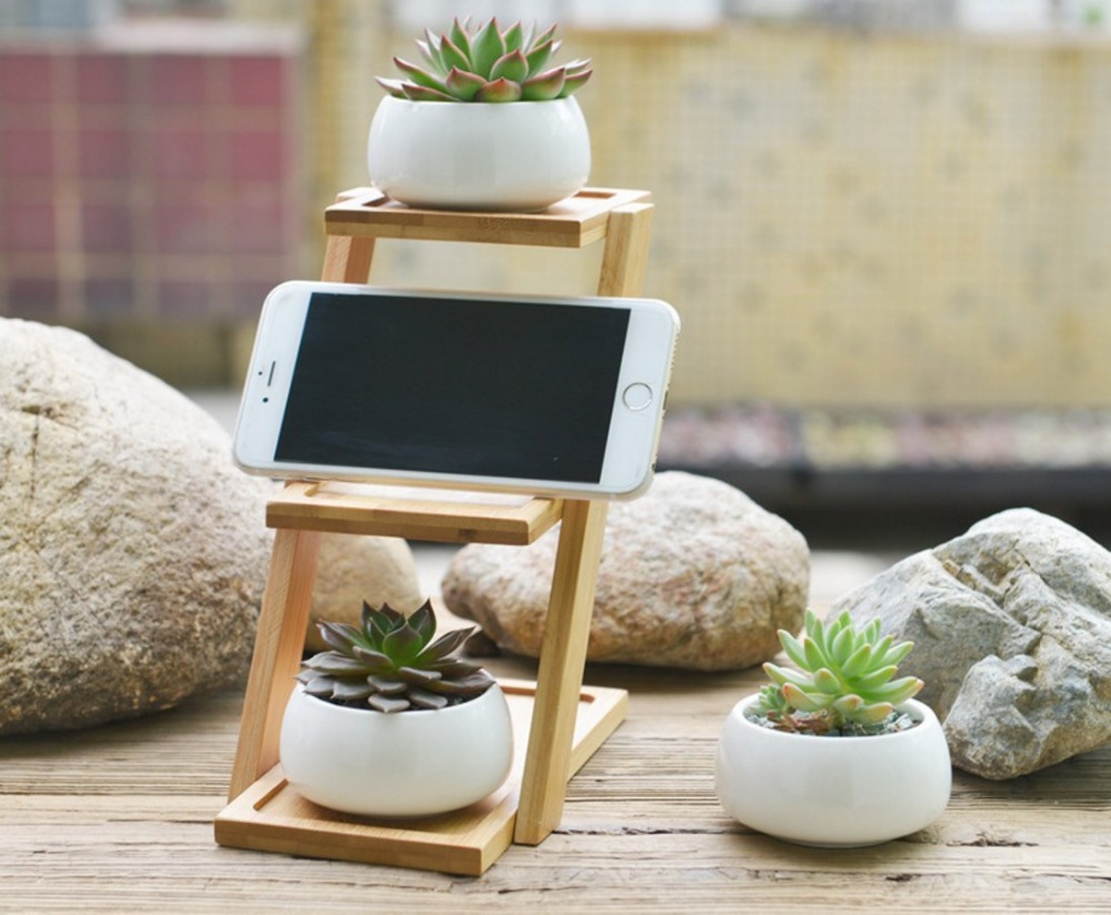 White Ceramic Modern Decorative Small White Round Ceramic Succulent Plant Pot 3 Tier wooden Stand