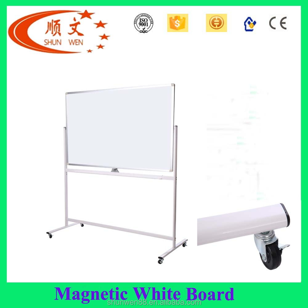 Movable magnetic double side white board with wheels 120*90cm