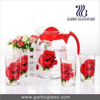 7pcs Lemon Printing Water Set,Glassware