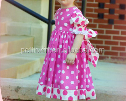 Wonderful Girls Princess Pink Frocks Shower Gift Polka Dot Wear Dresses