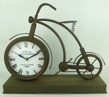 Antique rustic metal decorative table clock bicycle