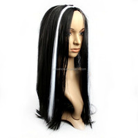 Wholesale cheap synthetic hair black with red long halloween wigs