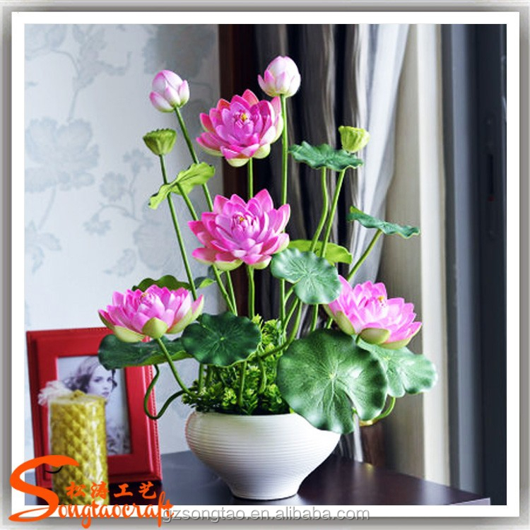 artificial lotus flower pot real touch decorative artificial lotus, Natural flower
