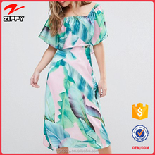 Mexican summer tropical Palm Print Bardot Midi beach dresses 2017 womens